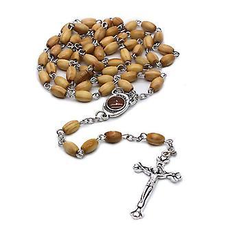 Handmade Round Bead Catholic Rosary Cross Religious Wood Beads Necklace