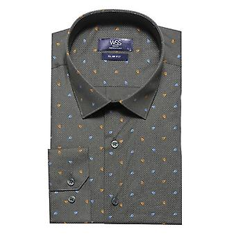 Green slimfit shirt with flower pattern