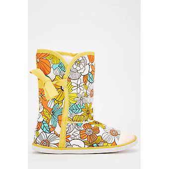 Floral Print Canvas Boots