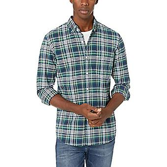 Brand - Goodthreads Men's Standard-Fit Long-Sleeve Plaid Oxford Shirt, Green Navy Multi, Small