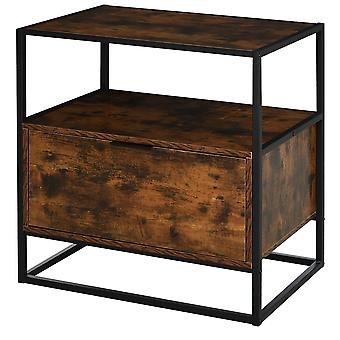 HOMCOM Industrial-Style Side Table w/ Drawer Open Shelf Steel Frame Large Base Two-Tone Retro Stylish Home Furniture Bedroom Living Room