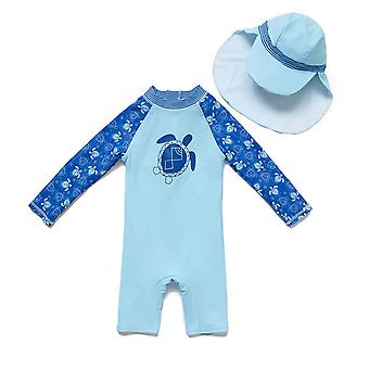 Bonverano Baby Boy Maillot de bain One Piece UPF 50+ Protection solaire L/S Zip Sunsuit