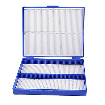 Royal Blue Plastic Rectangle Hold Micro Slide Microscope Box