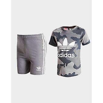 New adidas Originals Infant Trefoil Camo T-Shirt/Shorts Set Grey
