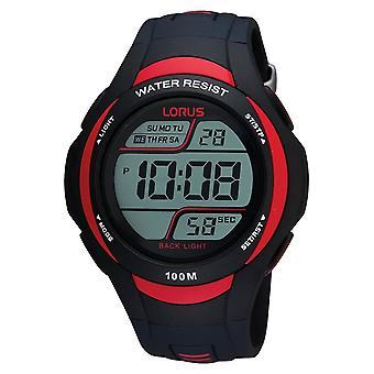Lorus Mens Sport Digital Watch 100M Vattentålig Med Svart Gummirem