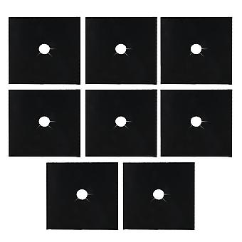 8Pcs 0.12mm Thick Black Gas Range Stove Top Burner Protector Liner Clean