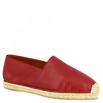 Leonardo Shoes Men's handmade slip-on round toe espadrilles in red calf and napa leather