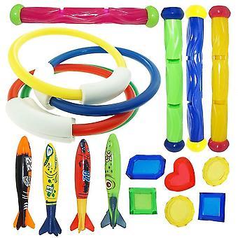 Requin d'été, dauphin, lancer de fusée, jeu de plongée de piscine pour l'ensemble de jouet