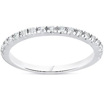 1/4ct Diamond Ring Stackable Engagement Womens Wedding Band 10K White Gold