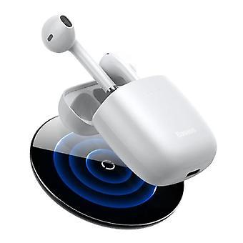 Baseus Encok W04 Wireless Earphones - Qi Wireless Charging - True Touch Control TWS Bluetooth 5.0 Earphones Earbuds White