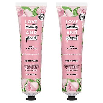 Love Beauty And Planet Rose & Aloe-vera Wholesome Protection Toothpaste 75ml 2pk