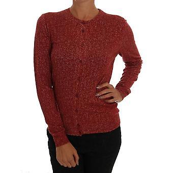 Rød ull topp cardigan genser