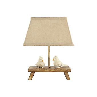 שתי ציפורים מחכות בסבלנות על מנורת המבטא של הספסל