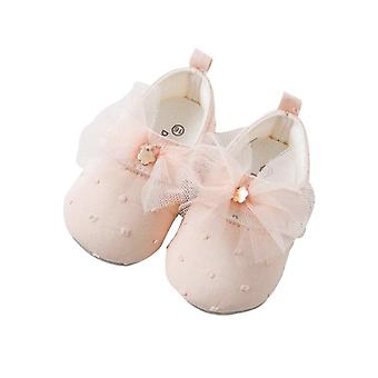 Spring Autumn Baby Pink Bow Leather Shoess