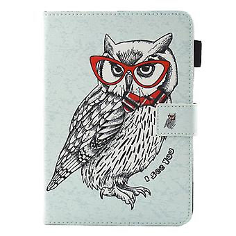 For iPad 9.7 (2018) & iPad 9.7 (2017) & Air 2 / Air Glasses Owl Pattern Horizontal Flip Leather Case with Holder & Wallet & Card Slots & Sleep / Wake-