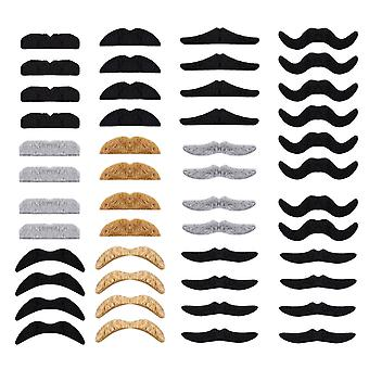 Whaline 48 pack novelty fake moustache self adhesive moustaches set for masquerade party favor, cost