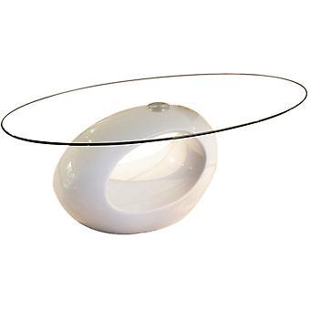 Mesa de centro ovalada-quot;Jeny-quot; - 115 x 65 x 40 cm - Blanco