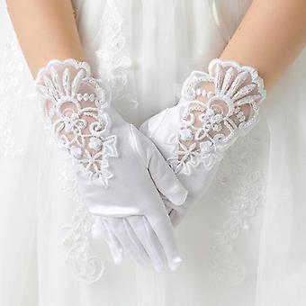 Kids Elastic Mesh Cloth Party Formal Etiquette Gloves Pearl Short Lace Bow