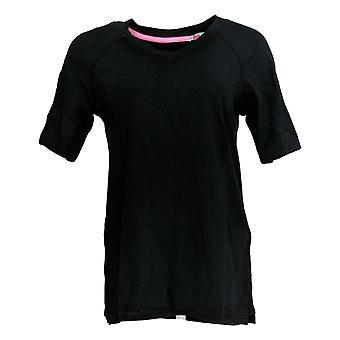 Isaac Mizrahi Live! Women's Top SOHO V-Neck Elbow-Sleeve Black A365198