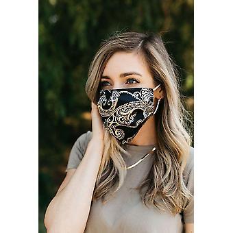 Siyah Paisley Saten Yüz Maskesi