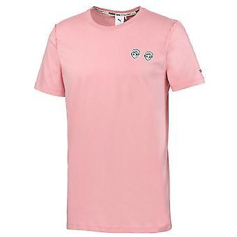プーマ×ティアカシャティーメンズTシャツ刺繍ピンクトップ595735 14