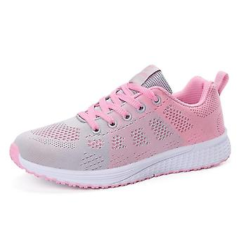 Fashion Breathable Walking Mesh Lace Up Flat Sneakers