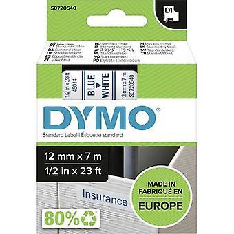 Merkintöjä nauha DYMO D1 45014 nauhan väri: valkoinen fontin väri: sininen 12 mm 7 m