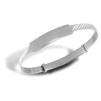 Jewelco London Baby Solid 9ct White Gold Ribbed ID 3mm Expanding Bangle Bracelet