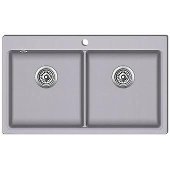 Granitspüle Doppelbecken Grau