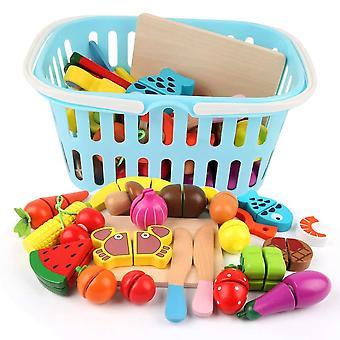 Beebeerun ξύλινα τρόφιμα παιχνίδι με καλάθι αγορών, κοπή φρούτων και λαχανικών, κουζίνα προσποιούνται παιχνίδια fo