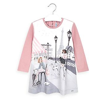 Mayoral girls pink paris print dress 4987/17