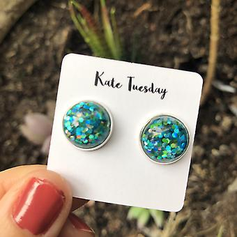 Brincos de brilho azul verde