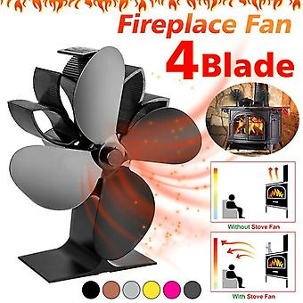 Heat Powered Stove Fan 4 Blades Fireplace Silent Portable For Wood Log Fire