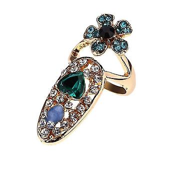 Femme Bowknot Charm Crown Flower Crystal Nail Ring For Party