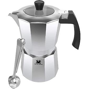 Gerui Maker by Gerui (6 Cup) Transparent Top Lid, High Gloss Finish, Free Coffee Clip Spoon -