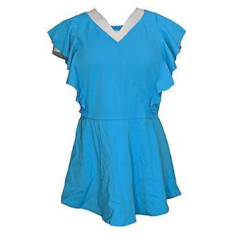 Denim & Co. Swimsuit Beach Wrap Front Swim Dress w/Ruffle Blue A375170