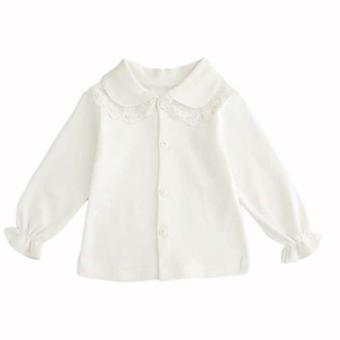 Vauvan söpö turn-down kaulus, pitkähihainen pitsi pusero, nappi alas paita