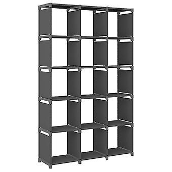 vidaXL Cube shelf 15 compartments Grey 103x30x175.5 cm fabric