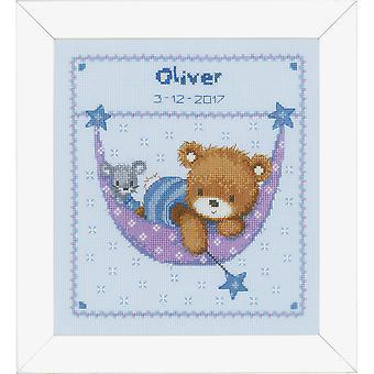Вервако подсчитанный крест стежок: Рождение запись: Маленький медведь в Гамаке (синий)