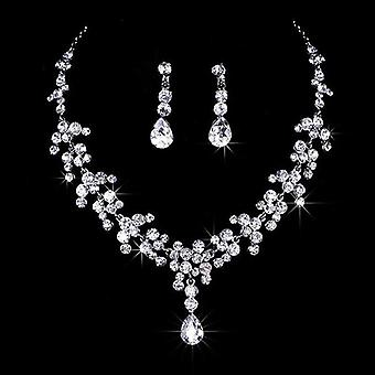 Crystal Rhinestone Necklace Earrings Jewelry Set