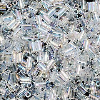 Toho Bugle Tube Pärlor Storlek #1 / 2x3mm Transparent Rainbow Crystal 8 Gram