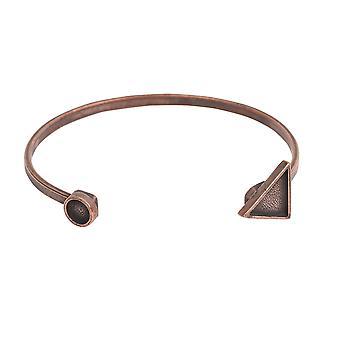 Final Sale - Nunn Design Cuff Bracelet, Triangle Bezel 15mm/Circle Bezel 8mm, 1 Bracelet, Antiqued Copper