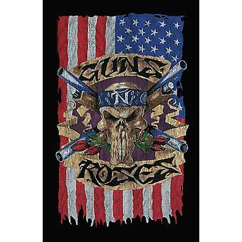 Guns N Roses Poster USA Crossbones Band Logo Official 70cm x 106cm Textile Flag