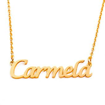 Kigu Carmela - Halsband med anpassat namn pläterat guld 18 karat, med hänge i form av ett namn, juvel för kvinnor, Ref. 4983953193134