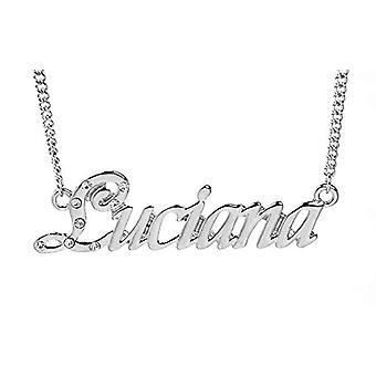 """L Luciana - 18-karat hvidguld forgyldt halskæde, med brugerdefineret navn, justerbar kæde på 16 """"- 19"""", i Ref Emballage. 496330314830"""
