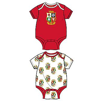 British & Irish Lions Rugby Baby 2 Pack Bodysuits    Red/White   2021   3-6 Months