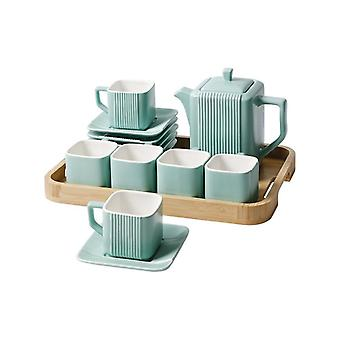 Contracted Square Creative streak ceramic Afternoon coffee & tea set with bamboo and wood tray