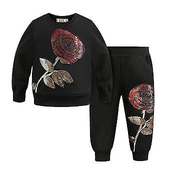 Black 5t big rose pattern kids clothing sets autumn winter toddler tracksuit cai964