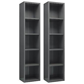 vidaXL CD shelves 2 pcs. high-gloss grey 21x16x93.5 cm chipboard