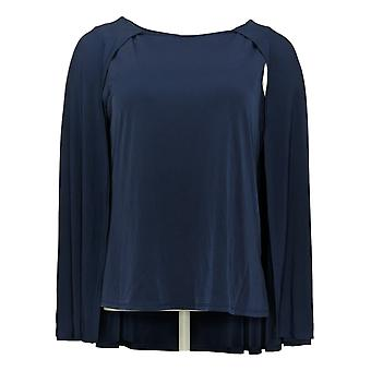 IMAN Global Chic Women's Top Caped Shell Blue 722613